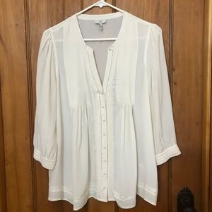 Joie Ivory Pleated Peasant Top